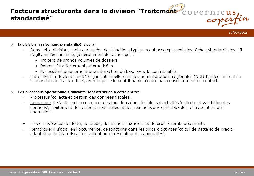 p. #Livre d'organisation SPF Finances – Partie 1 17/07/2002 >la division 'Traitement standardisé' vise à: –Dans cette division, sont regroupées des fo