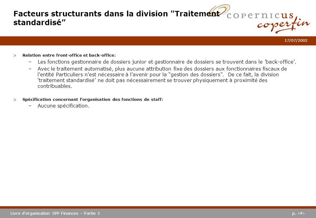 p. #Livre d'organisation SPF Finances – Partie 1 17/07/2002 >Relation entre front-office et back-office: –Les fonctions gestionnaire de dossiers junio