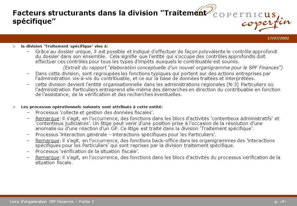 p. #Livre d'organisation SPF Finances – Partie 1 17/07/2002 >la division 'Traitement spécifique' vise à: –Grâce au dossier unique, il est possible et