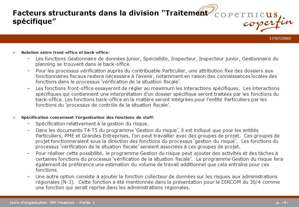 p. #Livre d'organisation SPF Finances – Partie 1 17/07/2002 >Relation entre front-office et back-office: –Les fonctions Gestionnaire de données junior