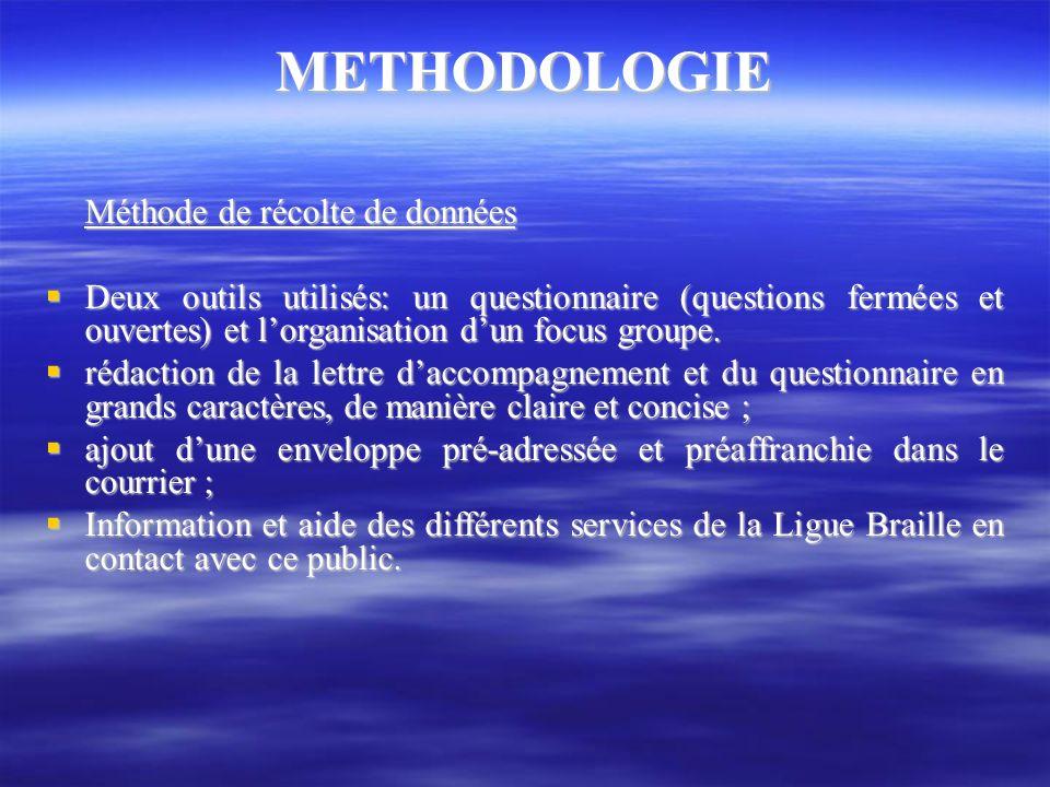 METHODOLOGIE Méthode de récolte de données Deux outils utilisés: un questionnaire (questions fermées et ouvertes) et lorganisation dun focus groupe. D