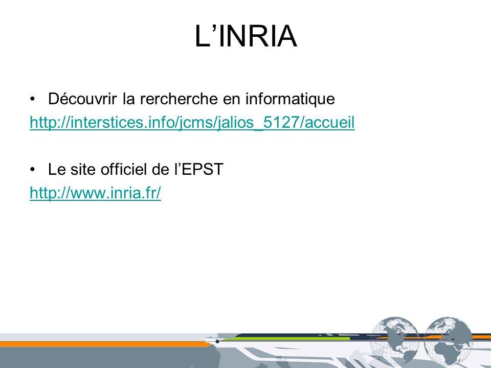 LINRIA Découvrir la rercherche en informatique http://interstices.info/jcms/jalios_5127/accueil Le site officiel de lEPST http://www.inria.fr/