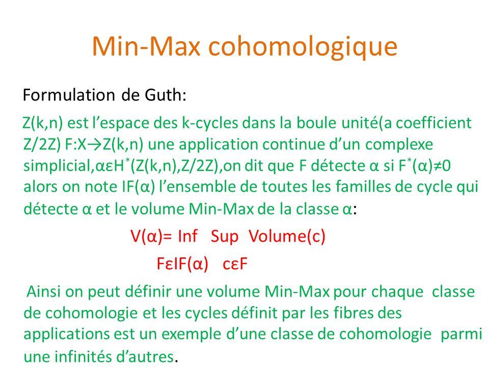 Min-Max cohomologique Formulation de Guth: Z(k,n) est lespace des k-cycles dans la boule unité(a coefficient Z/2Z) F:XZ(k,n) une application continue