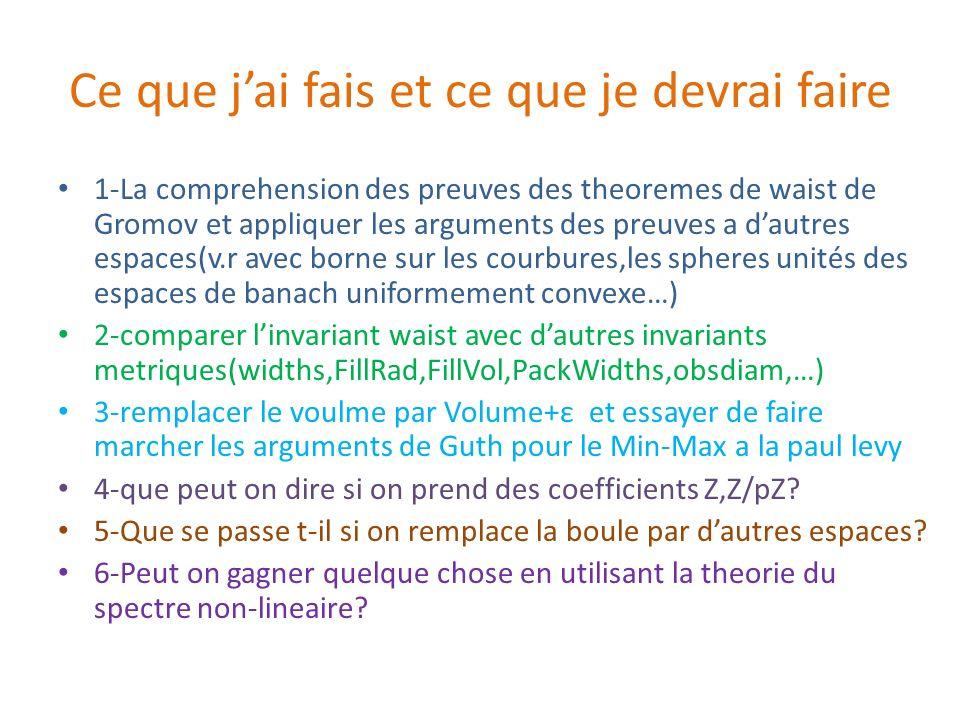 Ce que jai fais et ce que je devrai faire 1-La comprehension des preuves des theoremes de waist de Gromov et appliquer les arguments des preuves a dau