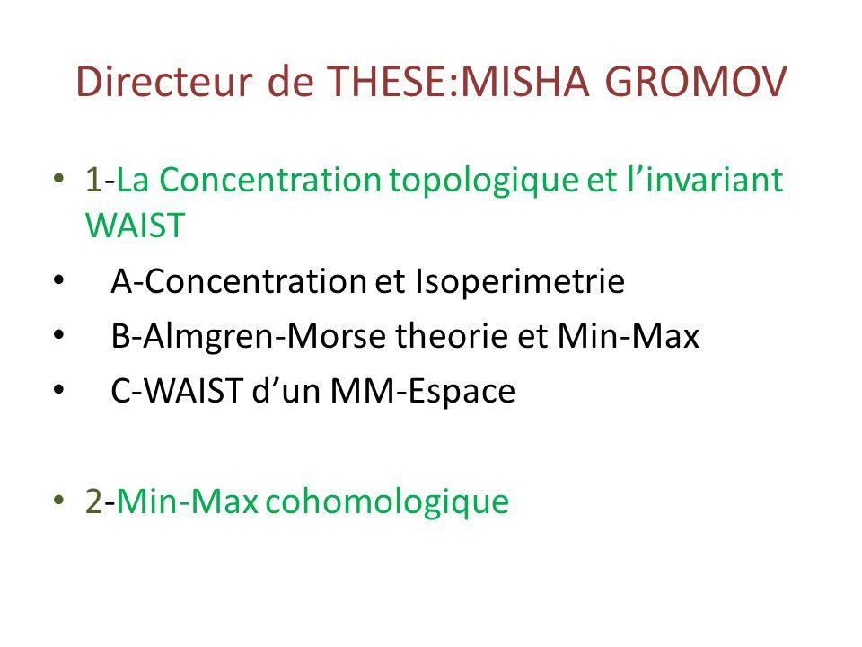 Directeur de THESE:MISHA GROMOV 1-La Concentration topologique et linvariant WAIST A-Concentration et Isoperimetrie B-Almgren-Morse theorie et Min-Max