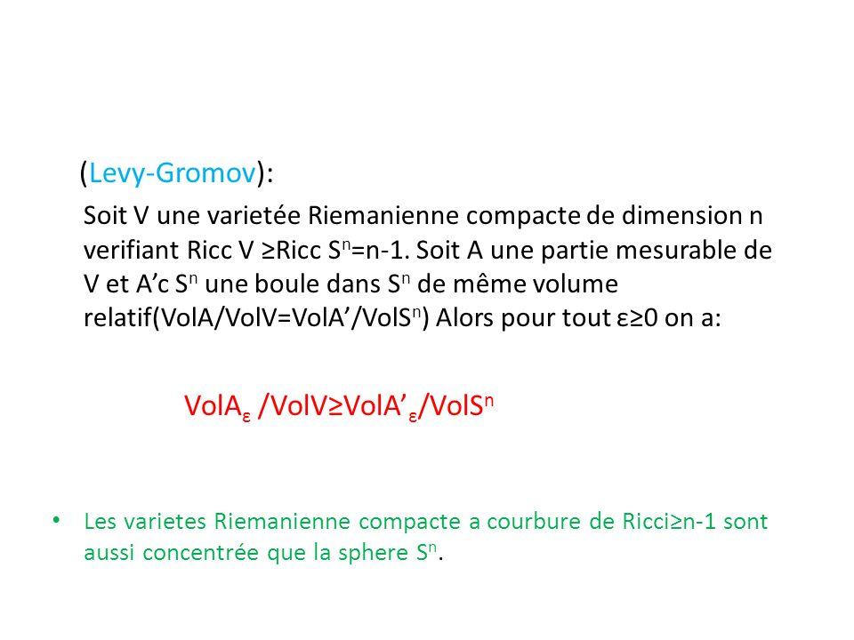 (Levy-Gromov): Soit V une varietée Riemanienne compacte de dimension n verifiant Ricc V Ricc S n =n-1. Soit A une partie mesurable de V et Ac S n une