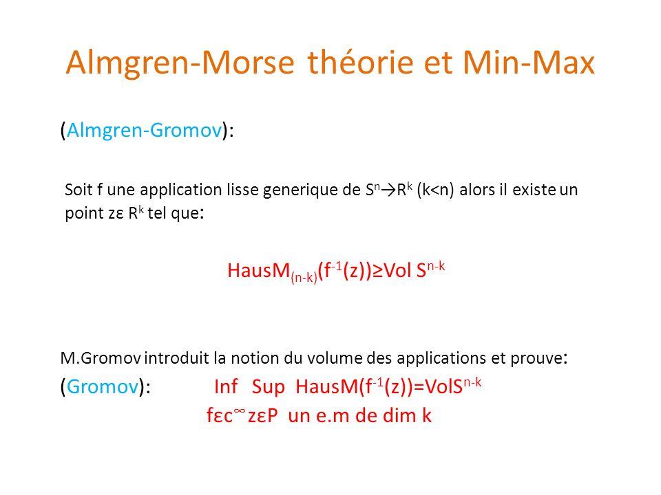 Almgren-Morse théorie et Min-Max (Almgren-Gromov): Soit f une application lisse generique de S n R k (k<n) alors il existe un point zε R k tel que : H