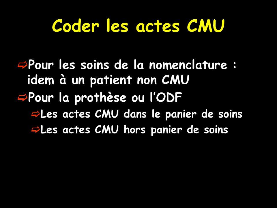 Coder les actes CMU Pour les soins de la nomenclature : idem à un patient non CMU Pour la prothèse ou lODF Les actes CMU dans le panier de soins Les a