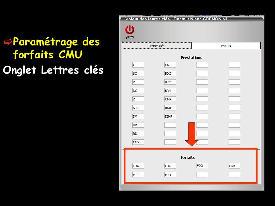 Paramétrage des forfaits CMU Onglet Lettres clés