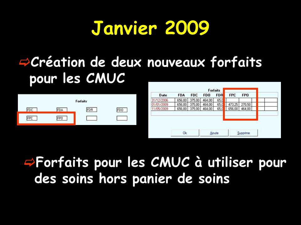 Janvier 2009 Création de deux nouveaux forfaits pour les CMUC Forfaits pour les CMUC à utiliser pour des soins hors panier de soins