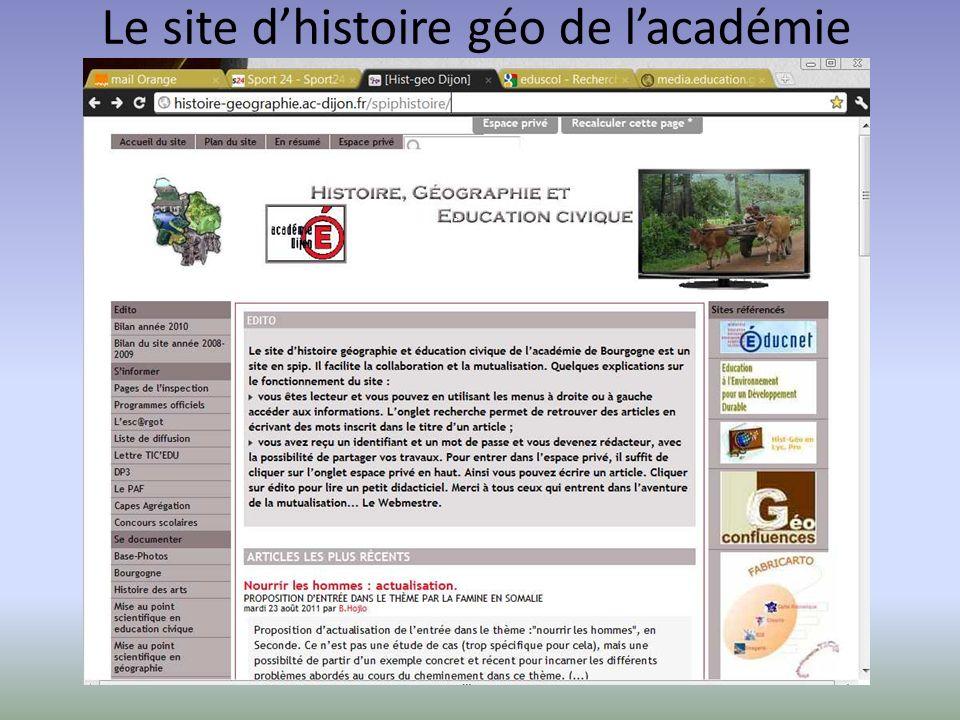 Le site dhistoire géo de lacadémie de DijonLe site académique
