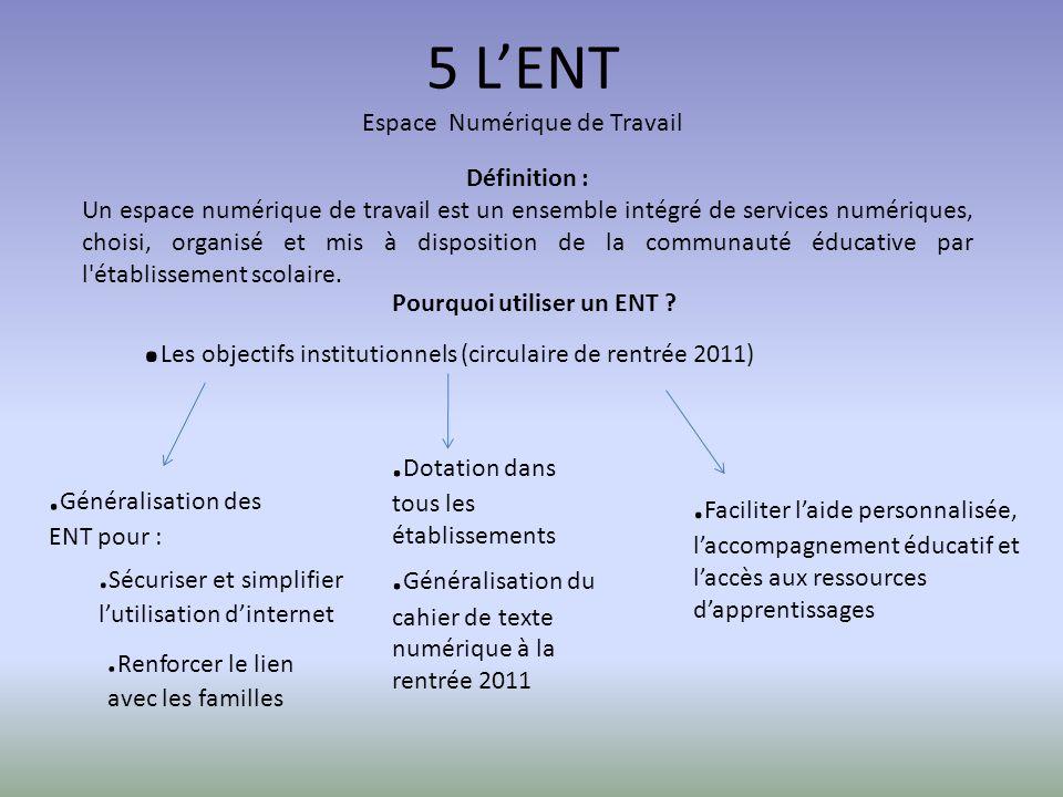 5 LENT Espace Numérique de Travail Définition : Un espace numérique de travail est un ensemble intégré de services numériques, choisi, organisé et mis à disposition de la communauté éducative par l établissement scolaire.