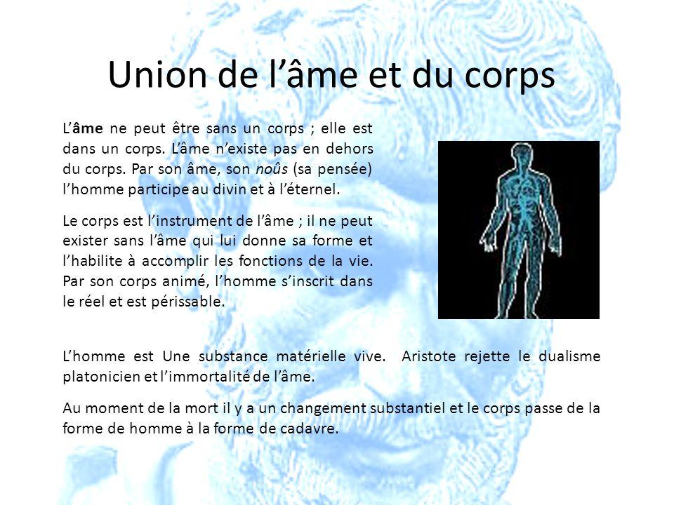 Union de lâme et du corps Lâme ne peut être sans un corps ; elle est dans un corps. Lâme nexiste pas en dehors du corps. Par son âme, son noûs (sa pen