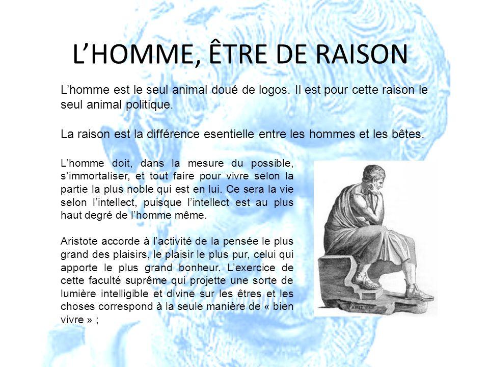 LHOMME, ÊTRE DE RAISON Lhomme est le seul animal doué de logos. Il est pour cette raison le seul animal politique. La raison est la différence esentie