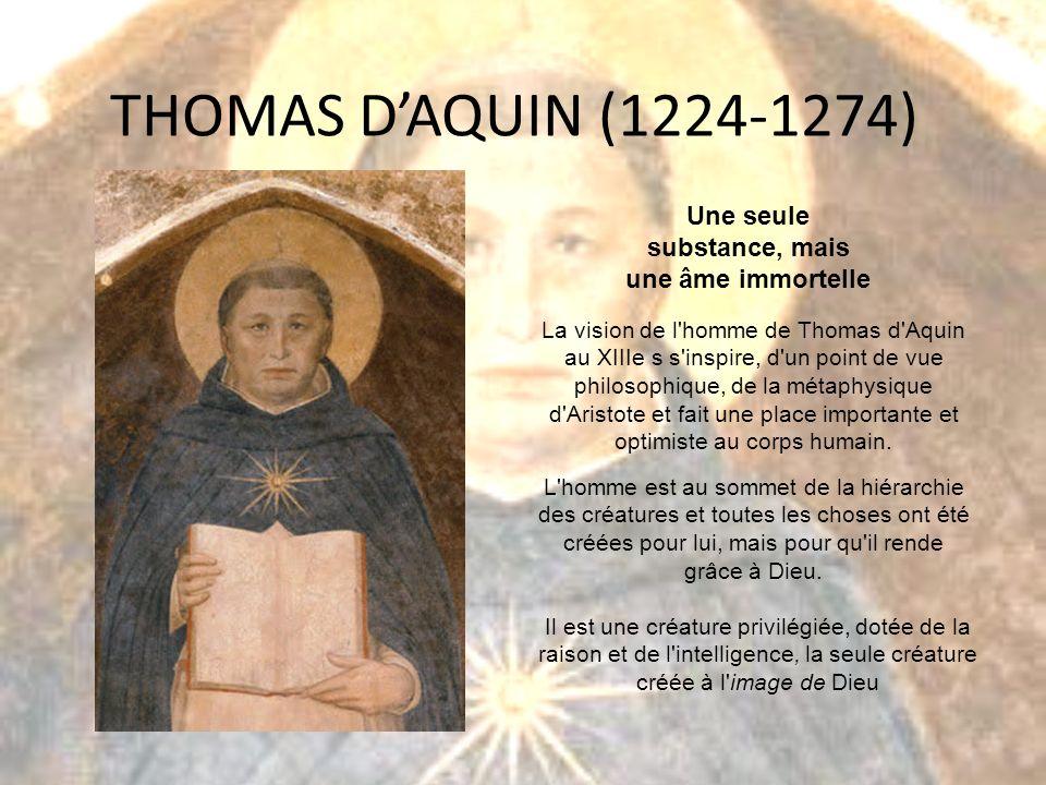 THOMAS DAQUIN (1224-1274) Une seule substance, mais une âme immortelle La vision de l'homme de Thomas d'Aquin au XIIIe s s'inspire, d'un point de vue