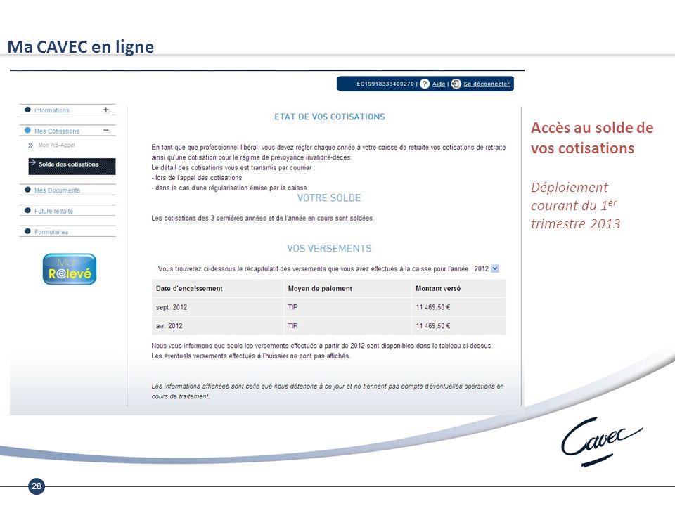 28 Ma CAVEC en ligne Accès au solde de vos cotisations Déploiement courant du 1 er trimestre 2013