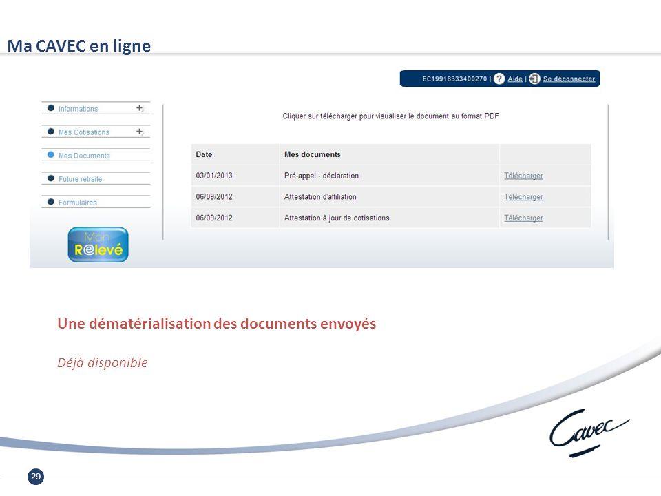29 Ma CAVEC en ligne Une dématérialisation des documents envoyés Déjà disponible