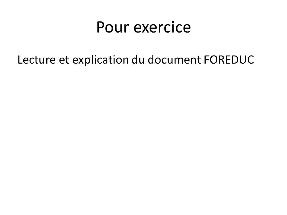 Pour exercice Lecture et explication du document FOREDUC