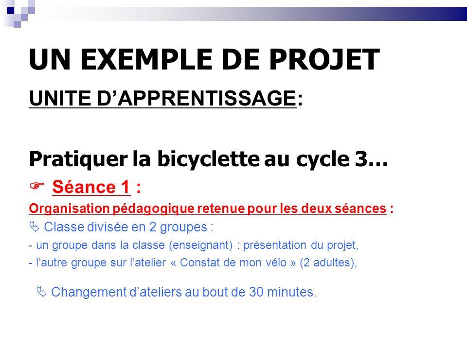 UN EXEMPLE DE PROJET UNITE DAPPRENTISSAGE: Pratiquer la bicyclette au cycle 3… Séance 1 : Organisation pédagogique retenue pour les deux séances : Cla