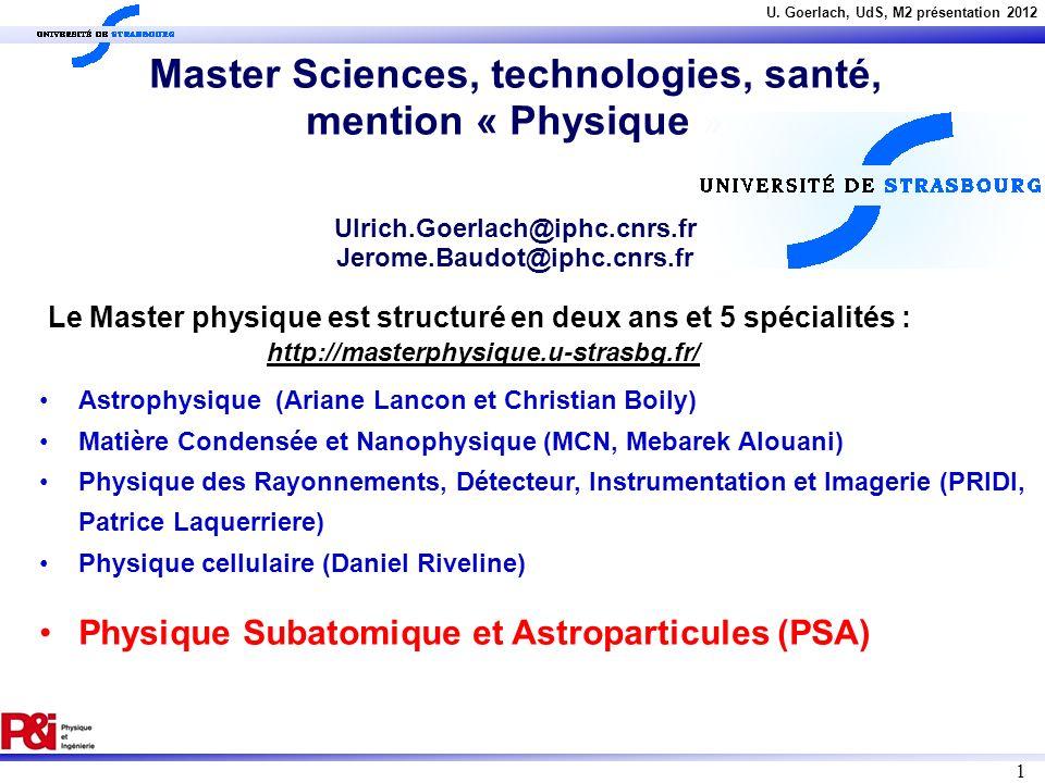 U. Goerlach, UdS, M2 présentation 2012 1 Astrophysique (Ariane Lancon et Christian Boily) Matière Condensée et Nanophysique (MCN, Mebarek Alouani) Phy