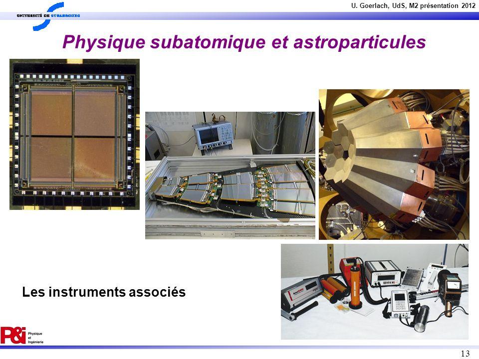 U. Goerlach, UdS, M2 présentation 2012 13 Les instruments associés Physique subatomique et astroparticules