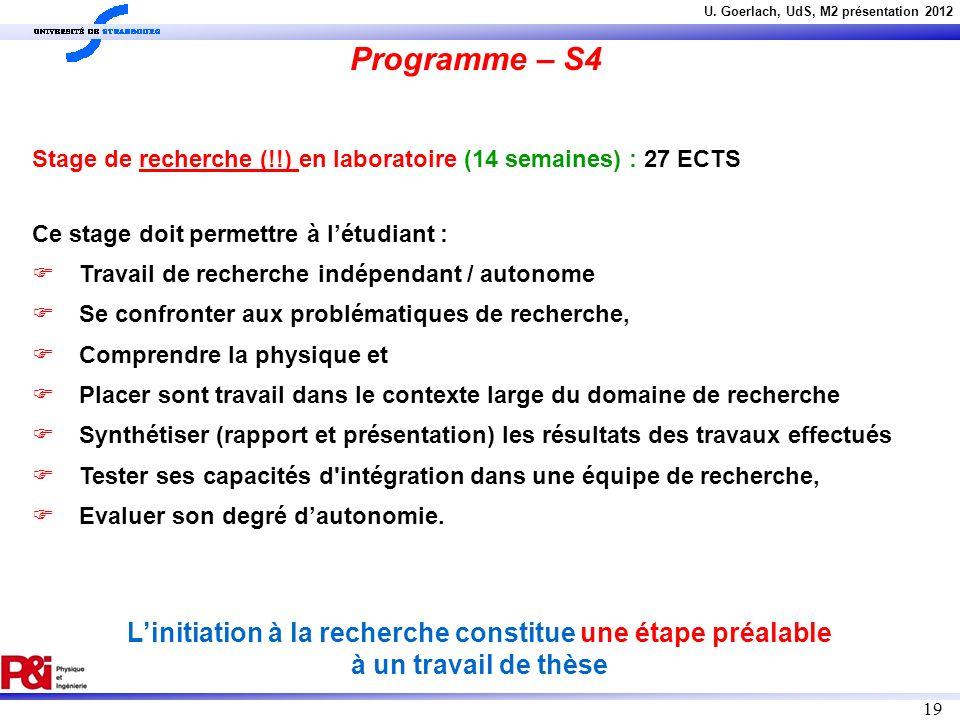 U. Goerlach, UdS, M2 présentation 2012 19 Stage de recherche (!!) en laboratoire (14 semaines) : 27 ECTS Ce stage doit permettre à létudiant : Travail