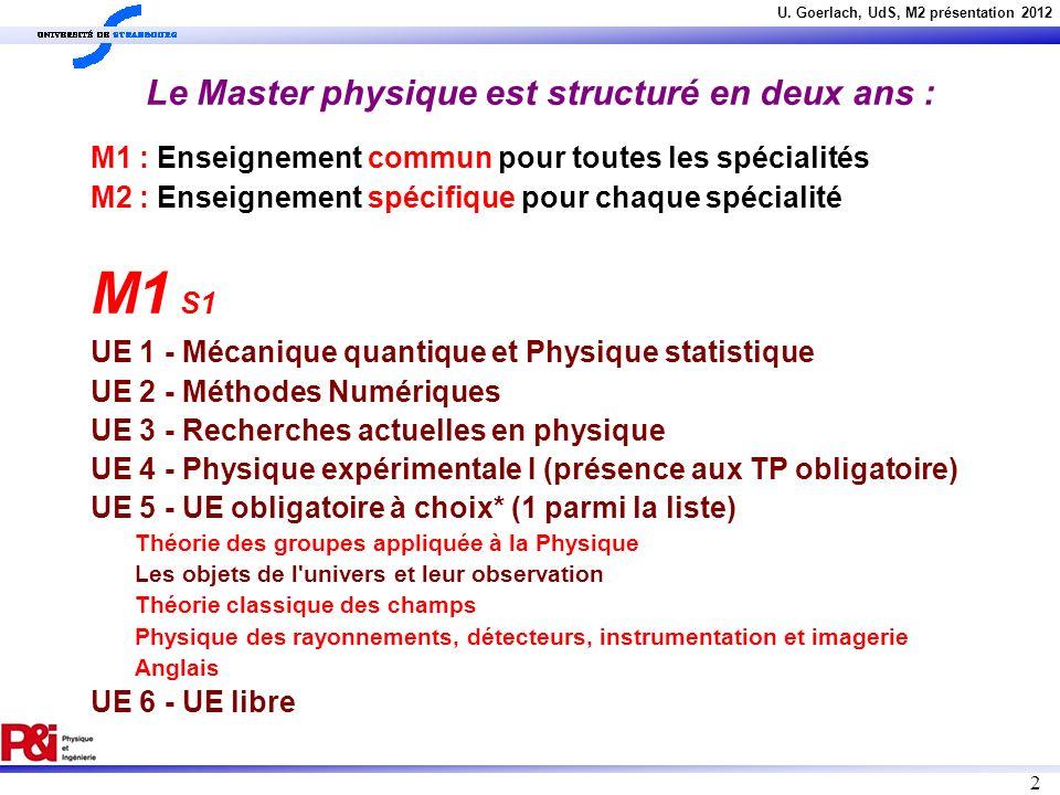 U. Goerlach, UdS, M2 présentation 2012 2 Le Master physique est structuré en deux ans : M1 : Enseignement commun pour toutes les spécialités M2 : Ense