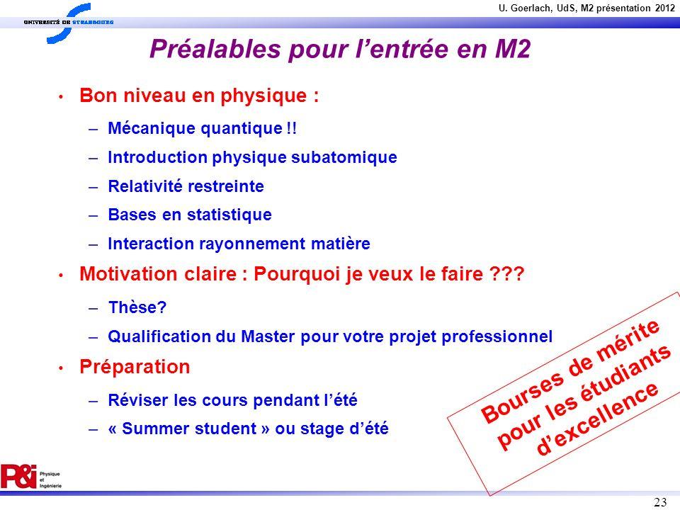 U. Goerlach, UdS, M2 présentation 2012 23 Préalables pour lentrée en M2 Bon niveau en physique : – Mécanique quantique !! – Introduction physique suba