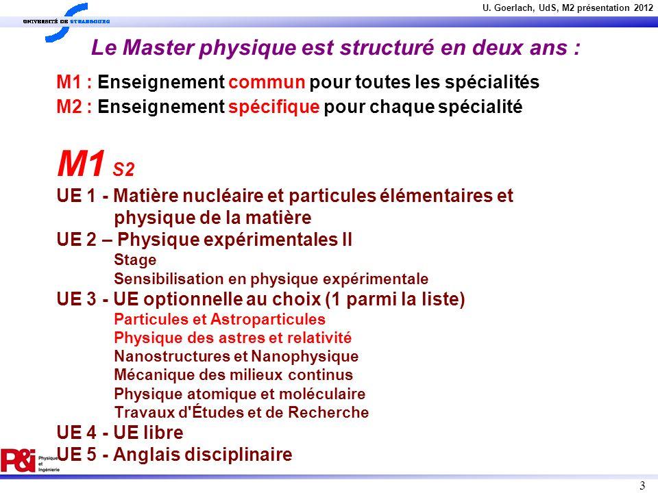 U. Goerlach, UdS, M2 présentation 2012 3 Le Master physique est structuré en deux ans : M1 : Enseignement commun pour toutes les spécialités M2 : Ense