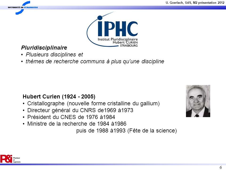 U. Goerlach, UdS, M2 présentation 2012 6 Pluridisciplinaire Plusieurs disciplines et thèmes de recherche communs à plus quune discipline Hubert Curien