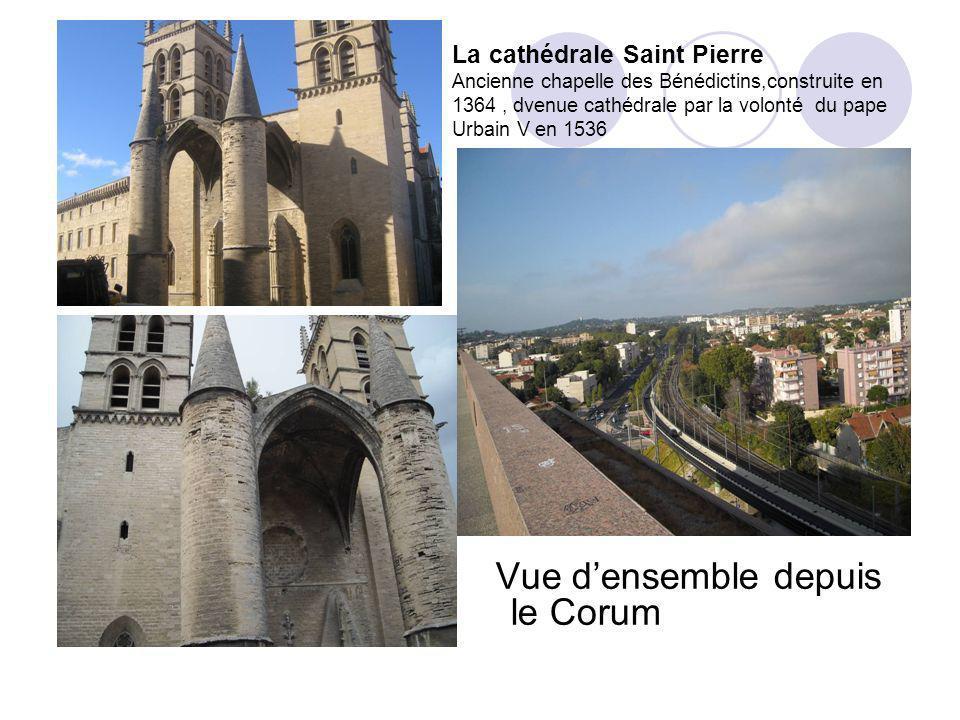 La cathédrale Saint Pierre Ancienne chapelle des Bénédictins,construite en 1364, dvenue cathédrale par la volonté du pape Urbain V en 1536 Vue densemble depuis le Corum