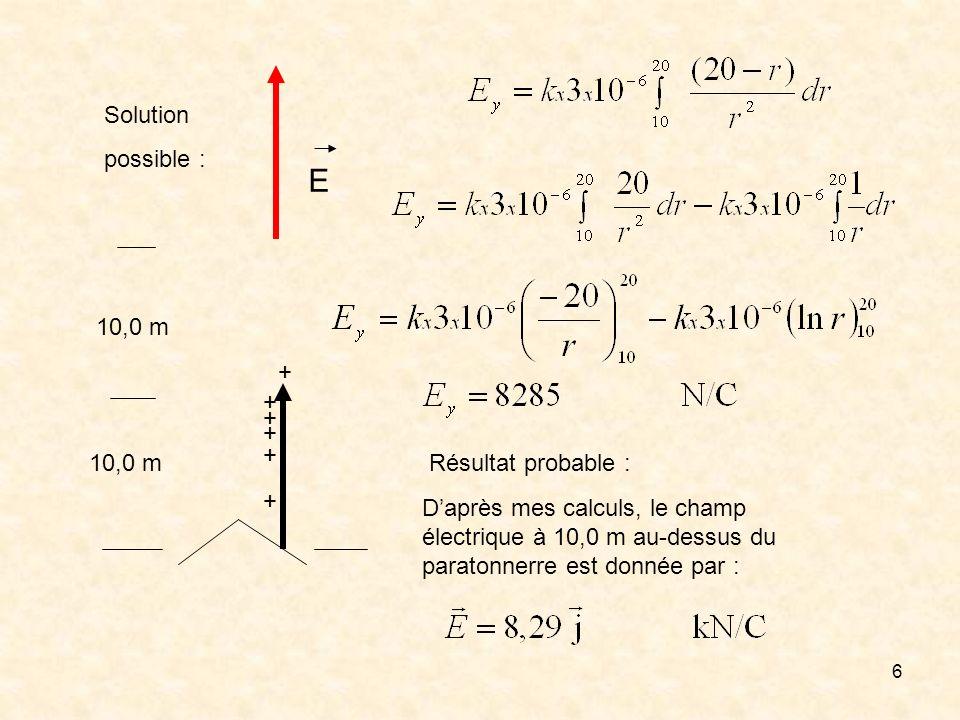 6 + + + + + + 10,0 m Solution possible : Résultat probable : Daprès mes calculs, le champ électrique à 10,0 m au-dessus du paratonnerre est donnée par