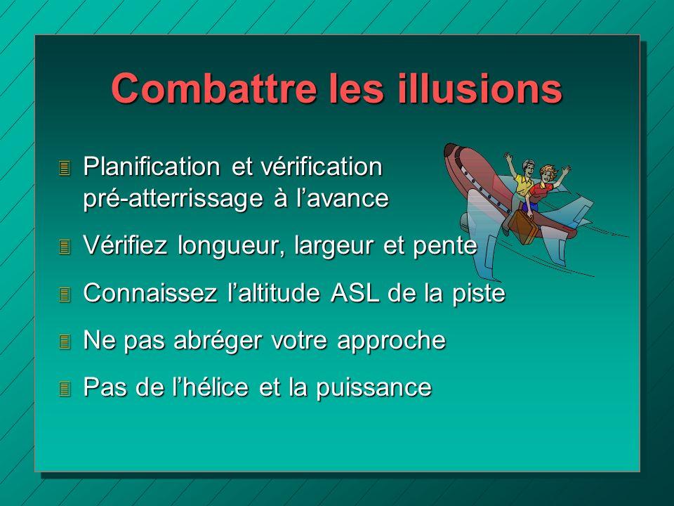 Combattre les illusions 3 Planification et vérification pré-atterrissage à lavance 3 Vérifiez longueur, largeur et pente 3 Connaissez laltitude ASL de
