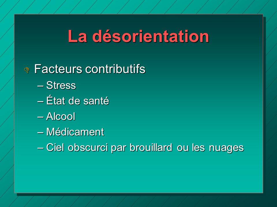 La désorientation D Facteurs contributifs –Stress –État de santé –Alcool –Médicament –Ciel obscurci par brouillard ou les nuages