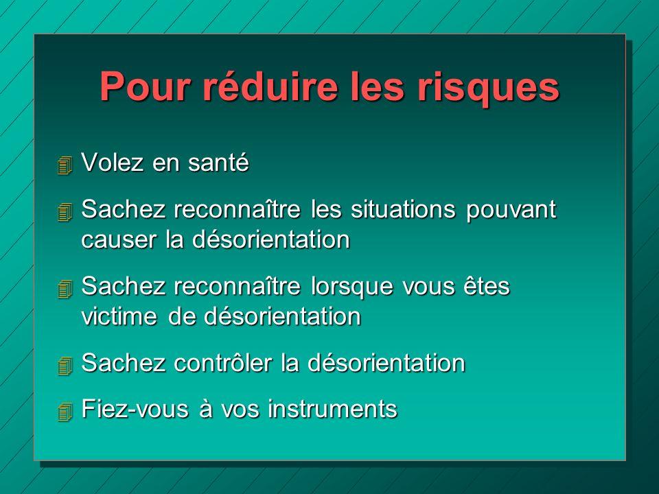 Pour réduire les risques 4 Volez en santé 4 Sachez reconnaître les situations pouvant causer la désorientation 4 Sachez reconnaître lorsque vous êtes