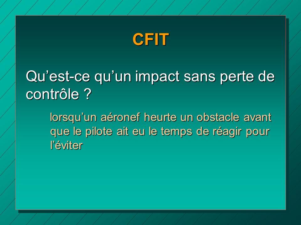 CFIT Quest-ce quun impact sans perte de contrôle ? lorsquun aéronef heurte un obstacle avant que le pilote ait eu le temps de réagir pour léviter