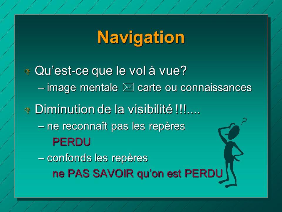 Navigation D Quest-ce que le vol à vue? –image mentale * carte ou connaissances D Diminution de la visibilité !!!.... –ne reconnaît pas les repères PE