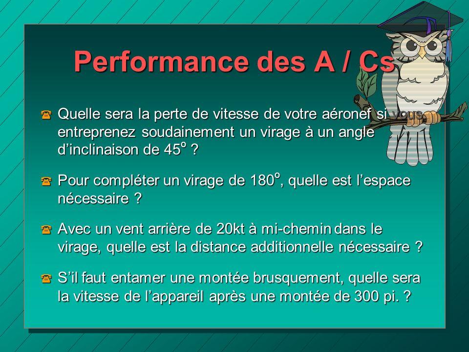 Performance des A / Cs ( Quelle sera la perte de vitesse de votre aéronef si vous entreprenez soudainement un virage à un angle dinclinaison de 45 o ?