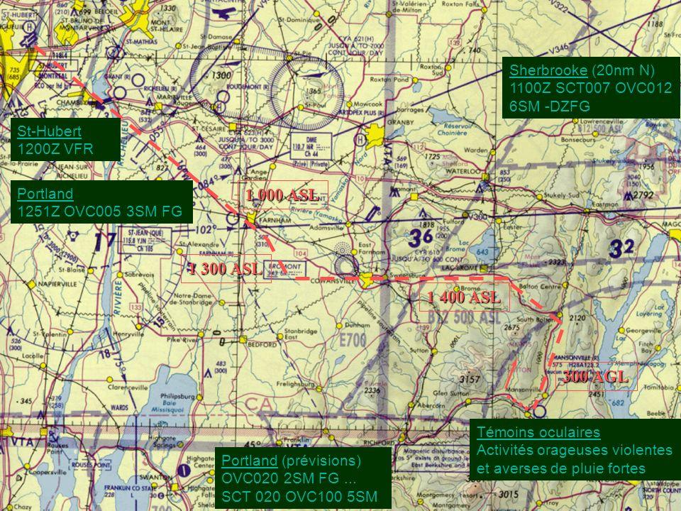 1 000 ASL 1 300 ASL 1 400 ASL 300 AGL Portland 1251Z OVC005 3SM FG St-Hubert 1200Z VFR Sherbrooke (20nm N) 1100Z SCT007 OVC012 6SM -DZFG Témoins ocula