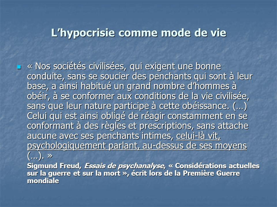 Lhypocrisie comme mode de vie « Nos sociétés civilisées, qui exigent une bonne conduite, sans se soucier des penchants qui sont à leur base, a ainsi h