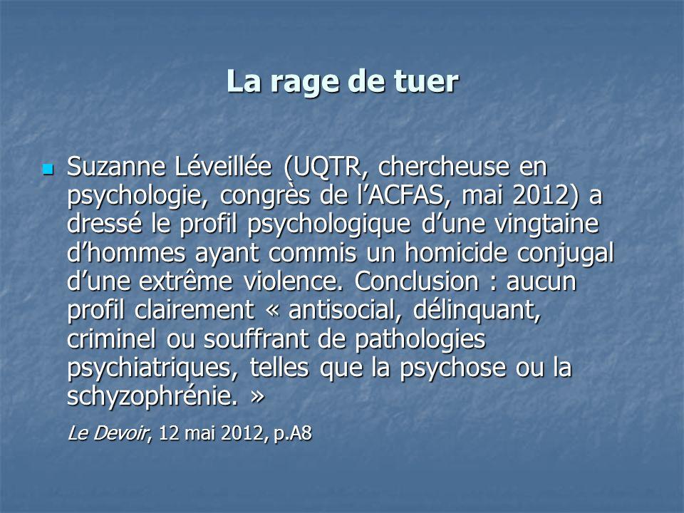 La rage de tuer Suzanne Léveillée (UQTR, chercheuse en psychologie, congrès de lACFAS, mai 2012) a dressé le profil psychologique dune vingtaine dhomm