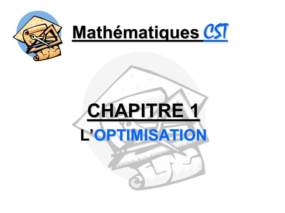 Mathématiques CST CHAPITRE 1 LOPTIMISATION