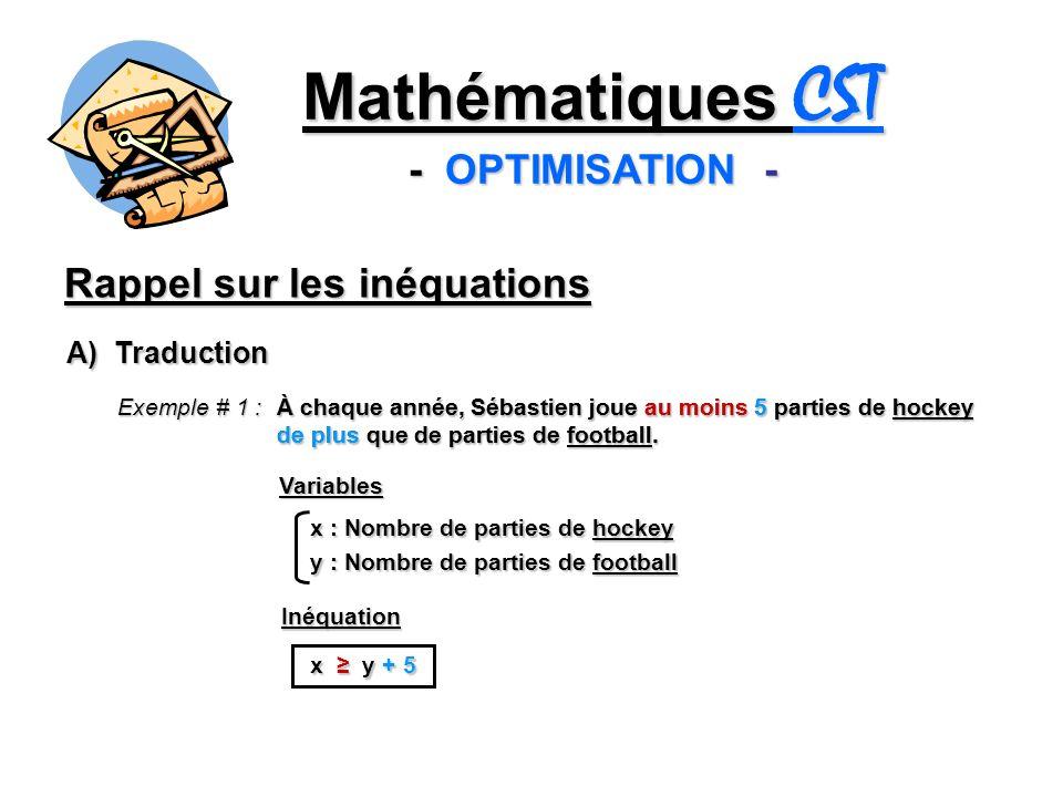 Rappel sur les inéquations Mathématiques CST - OPTIMISATION - A) Traduction Exemple # 1 : À chaque année, Sébastien joue au moins 5 parties de hockey