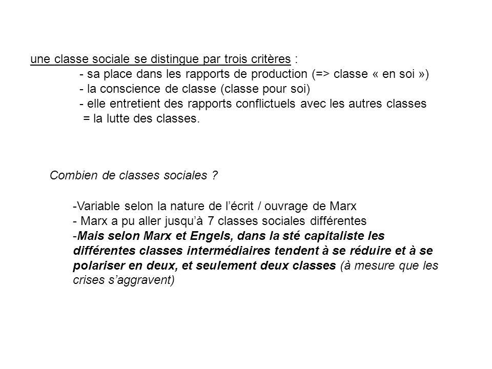 une classe sociale se distingue par trois critères : - sa place dans les rapports de production (=> classe « en soi ») - la conscience de classe (clas