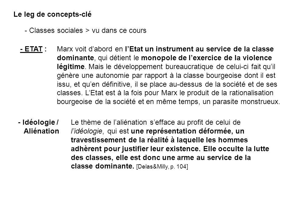 - Idéologie / Aliénation Le leg de concepts-clé - Classes sociales > vu dans ce cours - ETAT : Marx voit dabord en lEtat un instrument au service de l