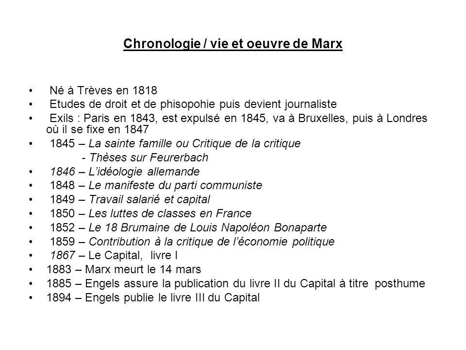 Chronologie / vie et oeuvre de Marx Né à Trèves en 1818 Etudes de droit et de phisopohie puis devient journaliste Exils : Paris en 1843, est expulsé e