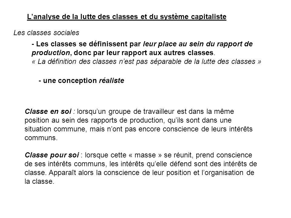 une classe sociale se distingue par trois critères : - sa place dans les rapports de production (=> classe « en soi ») - la conscience de classe (classe pour soi) - elle entretient des rapports conflictuels avec les autres classes = la lutte des classes.