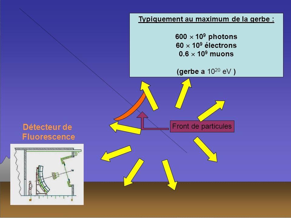 Front de particules Excitation du diazote de lair émission isotrope de photons UV Typiquement au maximum de la gerbe : 600 10 9 photons 60 10 9 électr