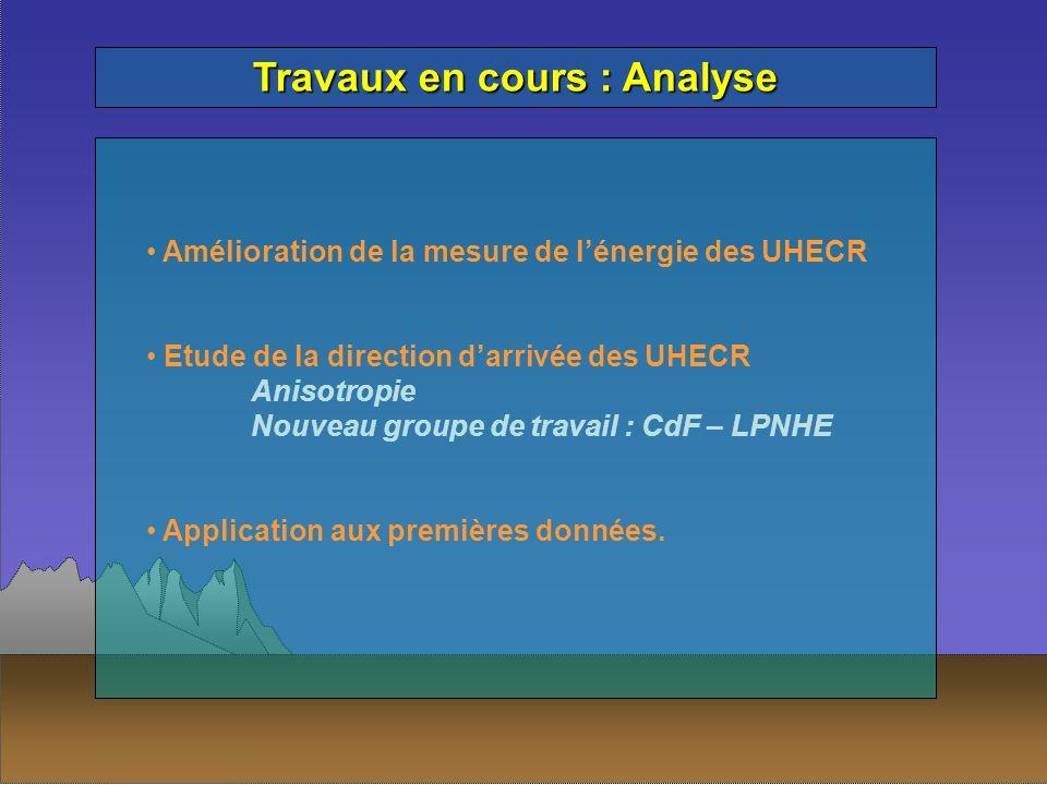 Travaux en cours : Analyse Amélioration de la mesure de lénergie des UHECR Etude de la direction darrivée des UHECR Anisotropie Nouveau groupe de trav