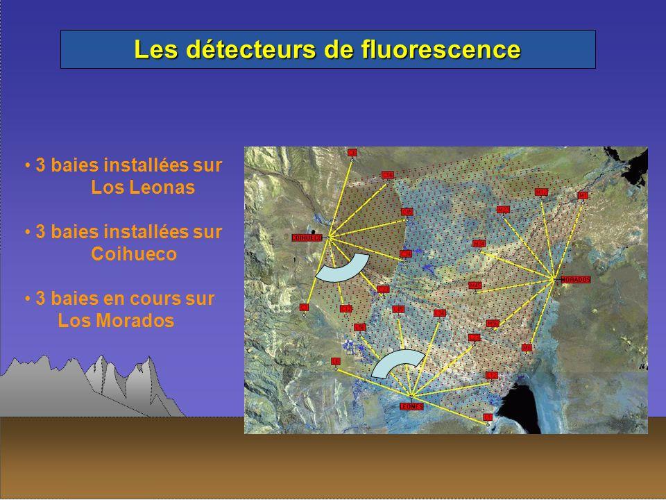 Les détecteurs de fluorescence 3 baies installées sur Los Leonas 3 baies installées sur Coihueco 3 baies en cours sur Los Morados